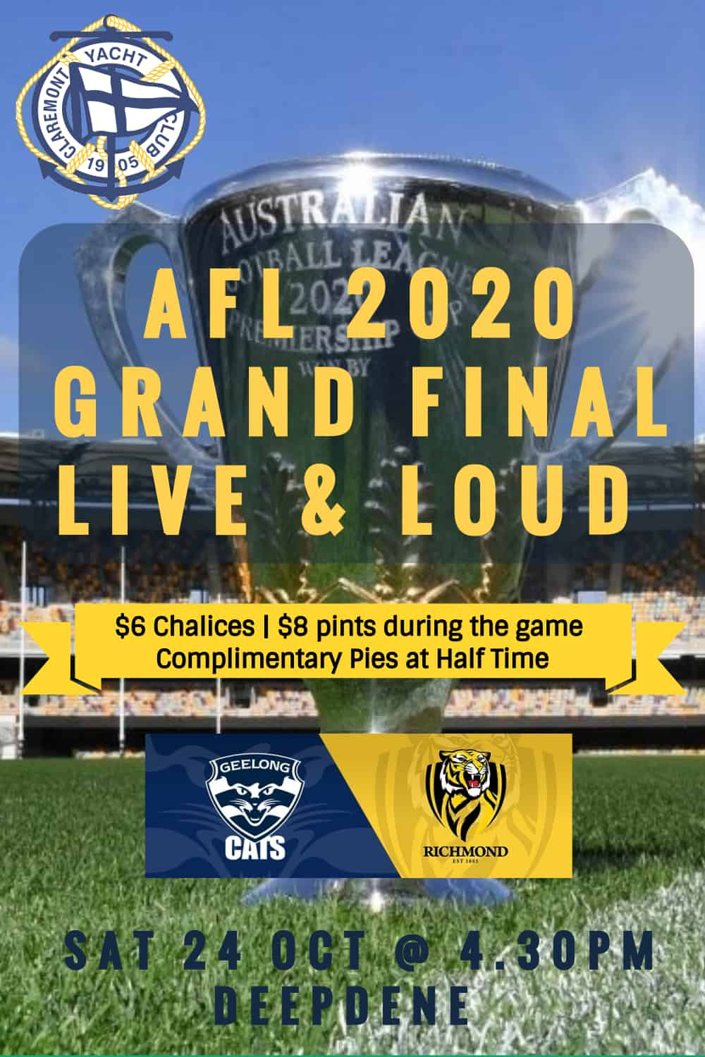 Poster for Claremont Yacht CLub AFL Grand Final even October 2020